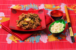 Vietnamese beef stir fry. Served on a bamboo place mat Royalty Free Stock Photography