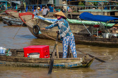 Vietnamese boat at the Can Tho floating market Stock Photo