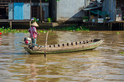 Vietnamese boat at the Can Tho floating market Royalty Free Stock Photography