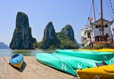 Vietnamese boat in Halong bay Stock Photo