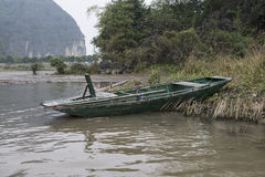 Vietnamese boat. Nimh Binh, Vietnam. Royalty Free Stock Images