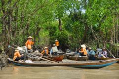 Vietnamese boatmen on the river royalty free stock image