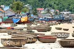 Vietnamese boats. Typical round Vietnamese boats on a beach Royalty Free Stock Photos