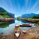Vietnamese boats at river. Ninh Binh. Vietnam Stock Photography