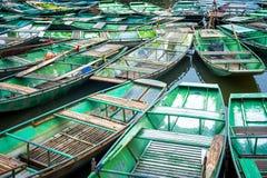 Vietnamese boats at river. Ninh Binh, Vietnam Stock Images