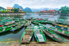 Vietnamese boats at river. Ninh Binh, Vietnam Stock Photos