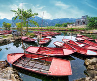 Vietnamese boats at river. Ninh Binh, Vietnam Royalty Free Stock Photo