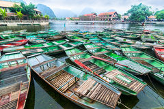 Vietnamese boats at river. Ninh Binh,. Vietnam Royalty Free Stock Image