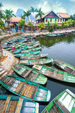 Vietnamese boats at river. Ninh Binh, Vietnam Royalty Free Stock Photography