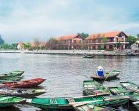 Vietnamese boats at river. Ninh Binh. Vietnam Royalty Free Stock Photo