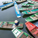 Vietnamese boats at river. Ninh Binh, Vietnam Stock Photography