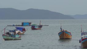 Vietnamese boats in a sea sunset. Nha Trang, Vietnam travel landscape and destinations. stock footage