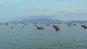 Vietnamese boats in a sea sunset. Nha Trang, Vietnam travel landscape and destinations. stock video