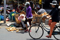 Vietnamese bread saleswoman Stock Image