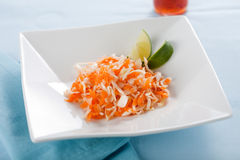 Vietnamese carrot salad. Delicious vietnamese carrot salad with cabbage and lime Stock Photos