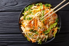 Vietnamese chicken salad with rice noodles, carrots and herbs ma stock image