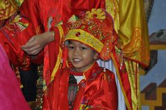 Vietnamese child with the traditional costume Stock Photography