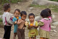 Vietnamese Children Playing. SAPA, VIETNAM- NOVEMBER 21: Six unidentified Vietnamese children play and eat in Sapa, Vietnam on November 21, 2010. Population in royalty free stock photography