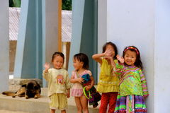 Vietnamese children waving. Sapa village Royalty Free Stock Images