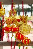 Vietnamese and Chinese New Year decorations red and gold colors on a street. Hue, Vietnam.  royalty free stock image