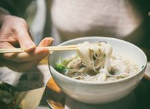 Vietnamese classic noodle soup. Royalty Free Stock Images