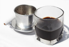 Vietnamese cofe and cigarette with ashtray Royalty Free Stock Image