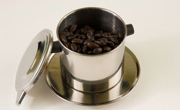 Vietnamese Coffee. Preparing an energizing cup of vietnamese coffee royalty free stock images