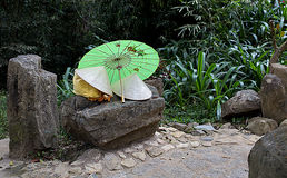 Vietnamese cones and umbrella Royalty Free Stock Photos