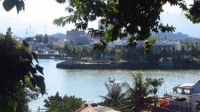 Vietnamese Coracle Fishing near Seaside. A Vietnamese coracle fishing boat / tub goes towards the seaside in Nha Trang, Vietnam stock video