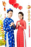 Vietnamese couple on Tet Royalty Free Stock Photos