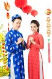 Vietnamese couple on Tet Royalty Free Stock Photos
