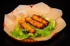 Dip fried spring roll. Vietnamese cuisine - Dip fried spring roll stock photos