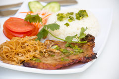 Vietnamese Cuisine - Grilled Pork Chop with Rice Stock Photos