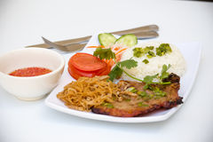 Vietnamese Cuisine - Grilled Pork Chop with Rice Stock Image