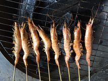 Vietnamese cuisine: grilled shrimp. Vietnamese cuisine, grilled shrimp, BBQ shrimp, seafood, cuisine, Vietnamese food, shrimp cooked, aquacuture, fishery Stock Photo