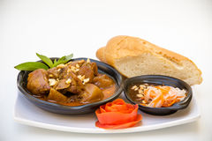 Vietnamese Cuisine - Pork Curry with French Bread Royalty Free Stock Photography