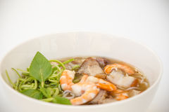 Vietnamese Cuisine - Rice Noodle Soup with Prawns, BBQ Pork, and Fermented Fish Royalty Free Stock Photos