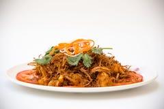 Vietnamese Cuisine - Sauté Frog Legs with Deep Fried Lemon Grass Royalty Free Stock Photography