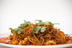 Vietnamese Cuisine - Sauté Frog Legs with Deep Fried Lemon Grass Stock Image