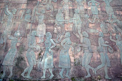 Vietnamese culture on bronze panel stock photos
