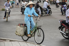 The Vietnamese cyclist. royalty free stock photos