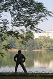 Vietnamese doing their morning exercise at Hoan Kiem Lake. - Series 2 Stock Photo