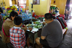 Vietnamese eat lunch at the central market Stock Images
