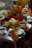 Vietnamese eat lunch at the central market Royalty Free Stock Image