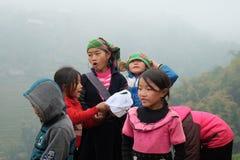 Vietnamese etnische H'mong-kinderen met traditionele kostuumsachtergrond Royalty-vrije Stock Afbeelding