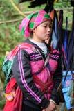 Vietnamese etnische H'Mong-vrouw in traditionele kostuums met terug baby op haar Stock Foto's