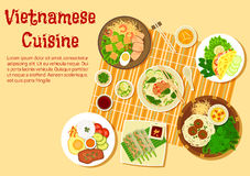 Vietnamese family dinner served on floor flat icon Royalty Free Stock Image