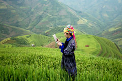 Vietnamese farmers use the tablet Stock Photo