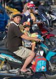 Vietnamese father motorcyclist and son Stock Photo