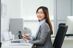 Vietnamese female accountant Royalty Free Stock Photos